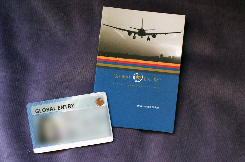 my global entry card and booklet