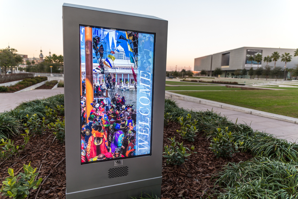 Curtis Hixon's digital screen informing visitors of upcoming events