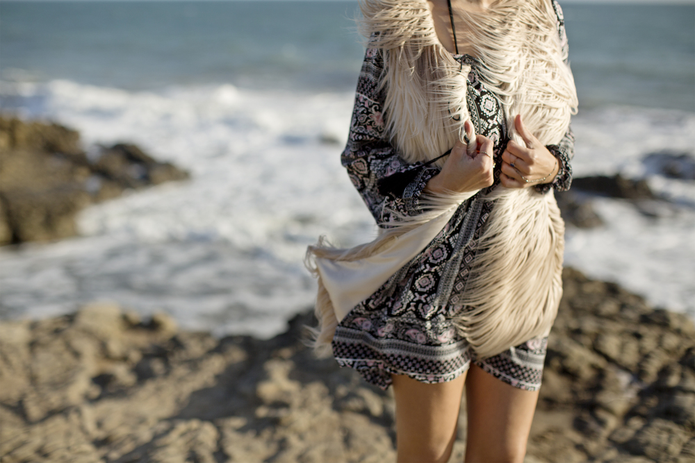 CALIFORNIA MOONRISE MANDALA TUNIC DRESS & FAUX FUR VEST