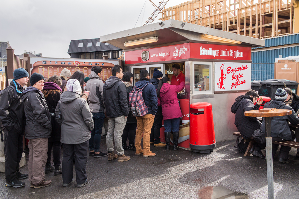 The popular hot dog stand in Reykjavik, Baejarins Beztu Pylsur
