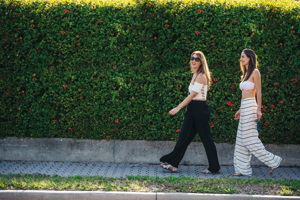 KIELY STRIPED PANTS | CATALINA WRAP OVER PANTS | TARA OFF THE SHOULDER CROP TOP