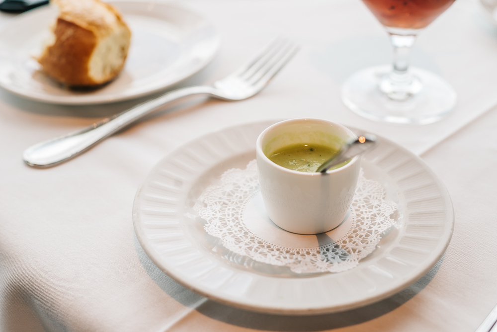 Mini cucumber soup before your meal