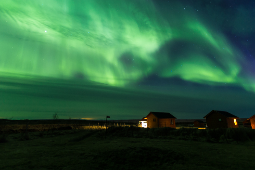 Northern Lights over the Hvammstangi Cottages