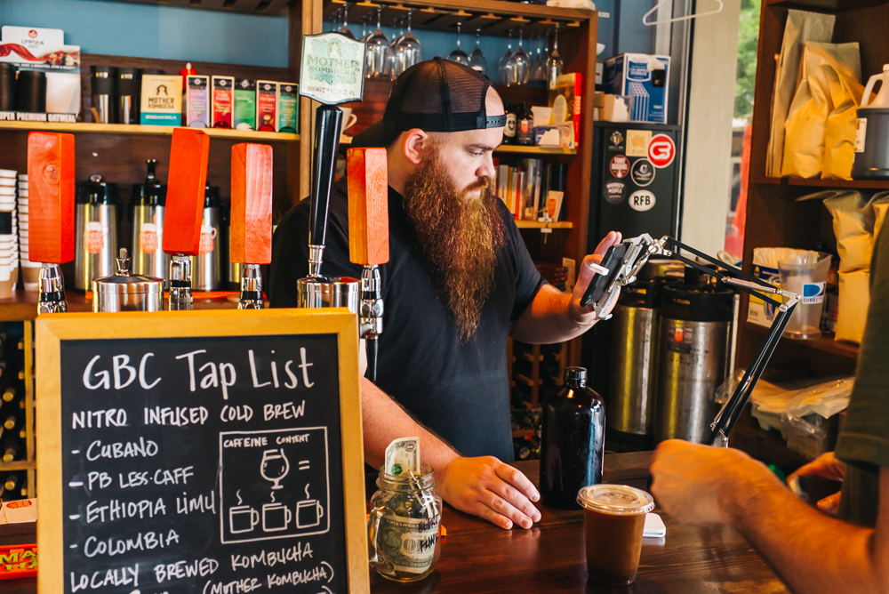 Josh, co-owner of Ginger Beard Coffee, is the friendliest barista you'll ever meet