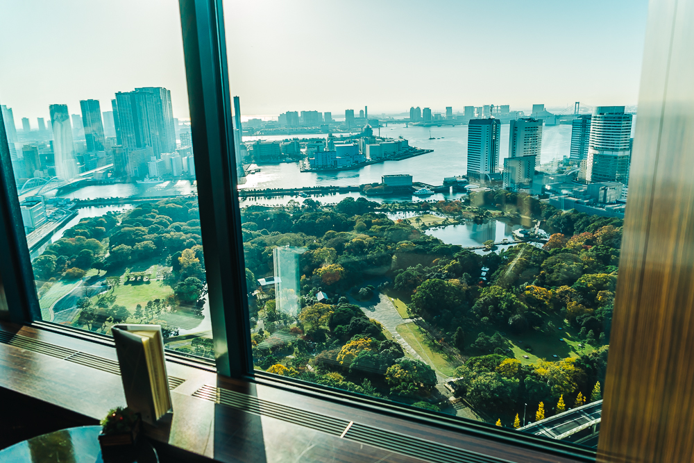 View of Tokyo Bay and Hamarikyu Gardens from the hotel lounge area