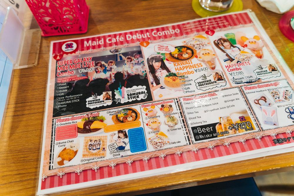 Maid cafe menu