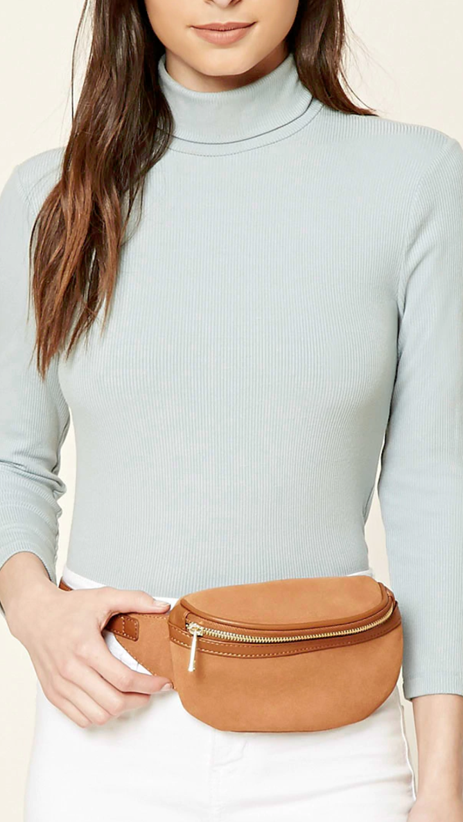 F21 GENUINE SUEDE FANNY PACK