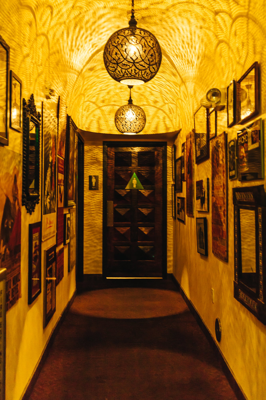 hallway to the restrooms