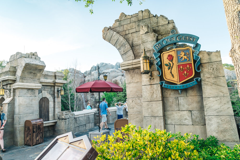 Entrance before the bridge to Be Our Guest Restaurant