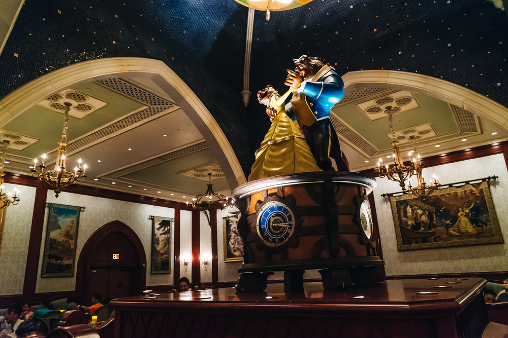 The Rose Gallery has an adorable sculpture clock of Belle and the Beast dancing