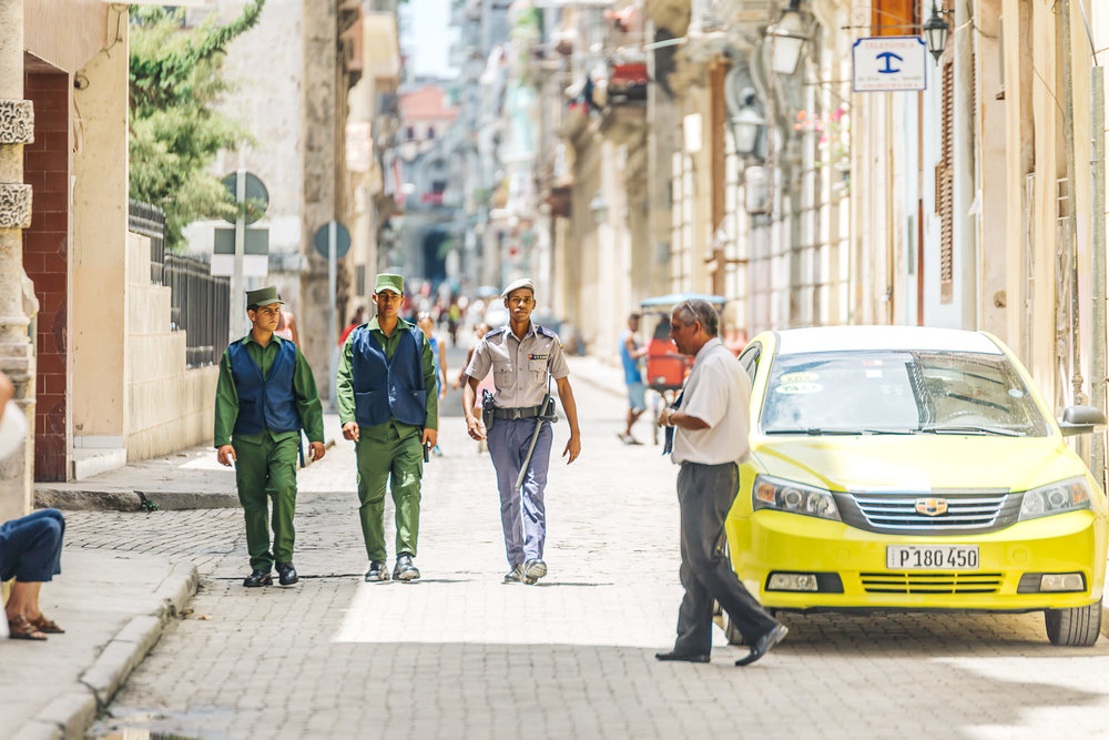 The police of Cuba are on every corner of Old Havana