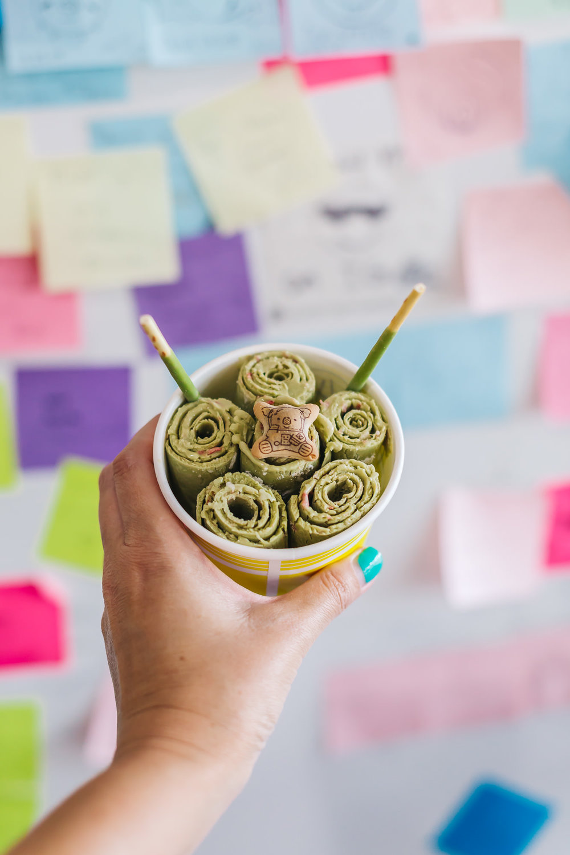 Green tea + strawberry rolled ice cream