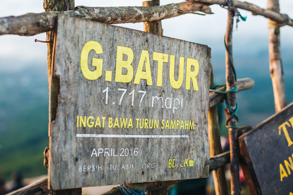 Mount Batur sign - Highest point Elevation 1,717 m (5,633 ft)