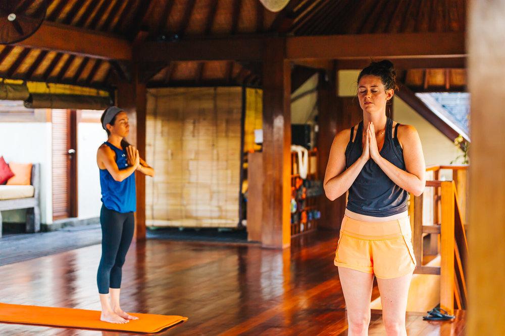 Yoga practice at Soulshine Bali