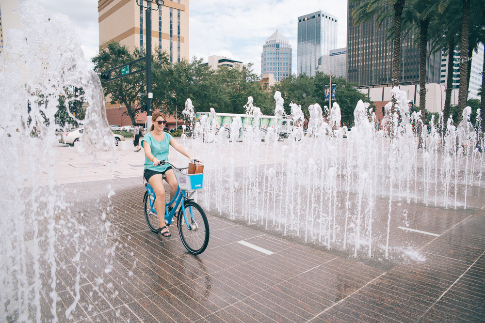 Go bike riding at Curtis Hixon Park in Tampa
