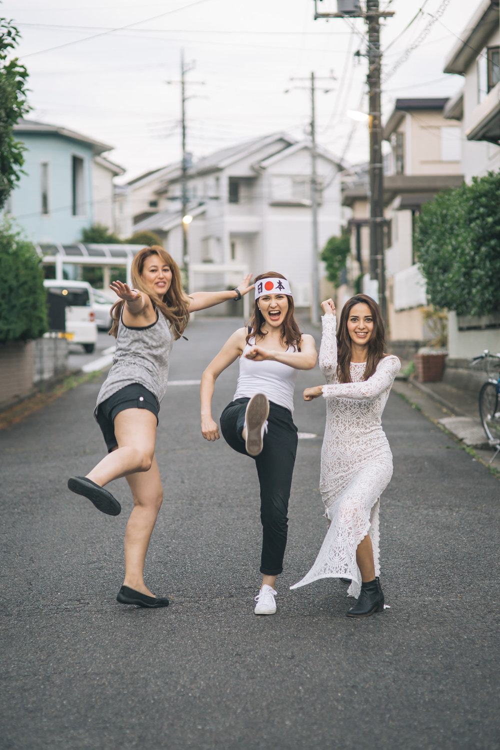 Being silly in our parent's neighborhood in Japan.