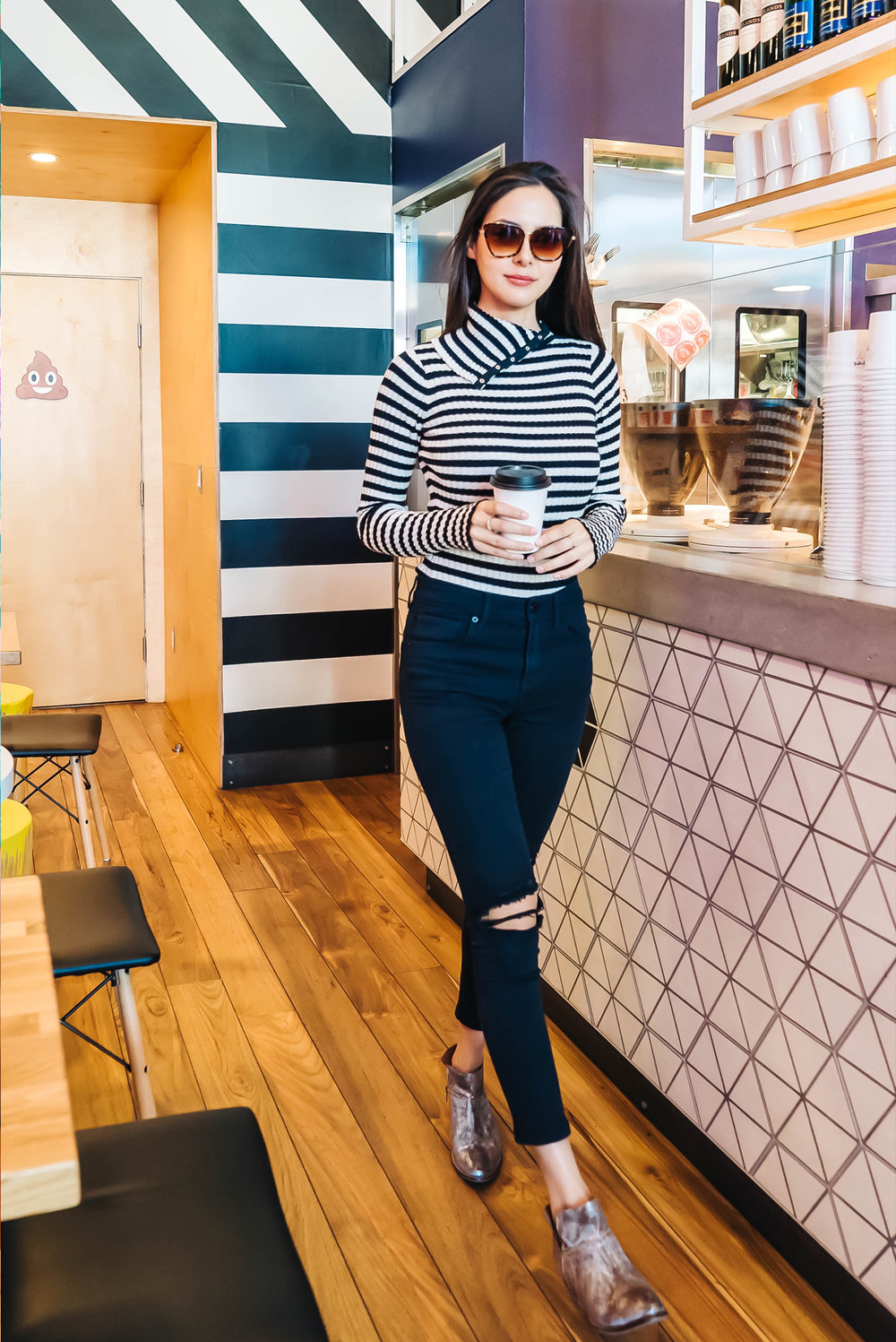 STRIPED TOP:   MARGARET O'LEARY   PANTS:   EXPRESS   BOOTIES:   SEYCHELLES