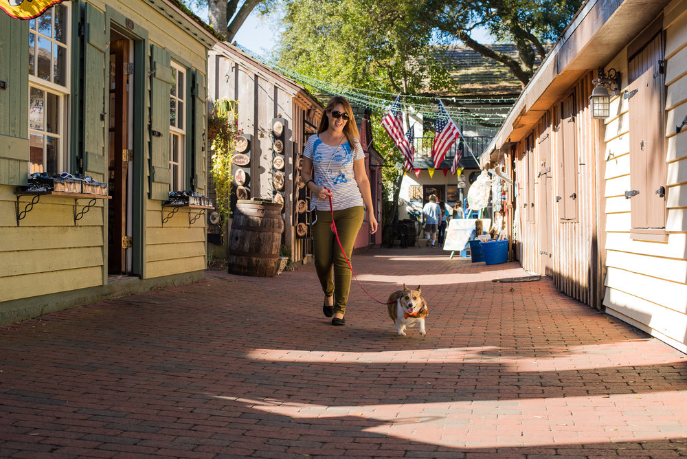 Taking a stroll around historic St. Augustine with Kuma