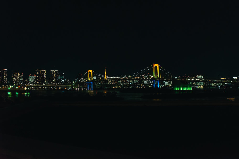 View of Rainbow Bridge at night
