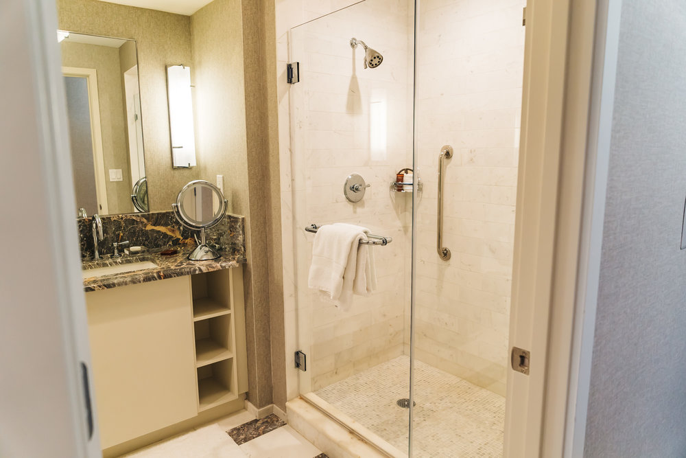 Large bathroom with deep-soaking tub and separate shower