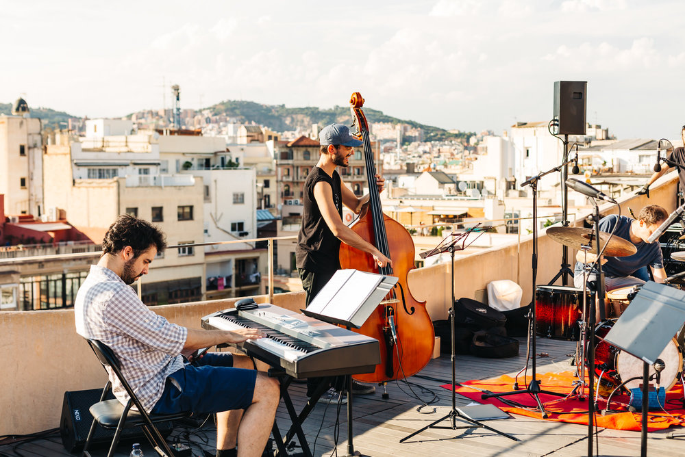 Jazz band rehearsing for an event later in the evening being held at Casa Mila's rooftop