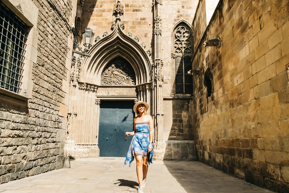 Walking around Gothic Quarter in Barcelona