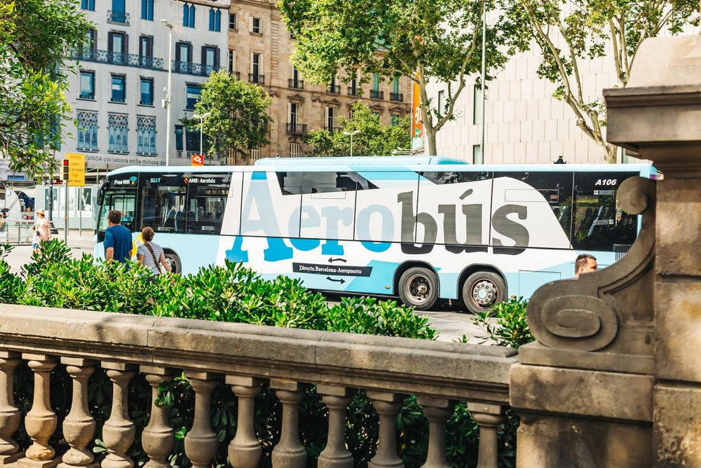 Aerobus at Plaça de Catalunya