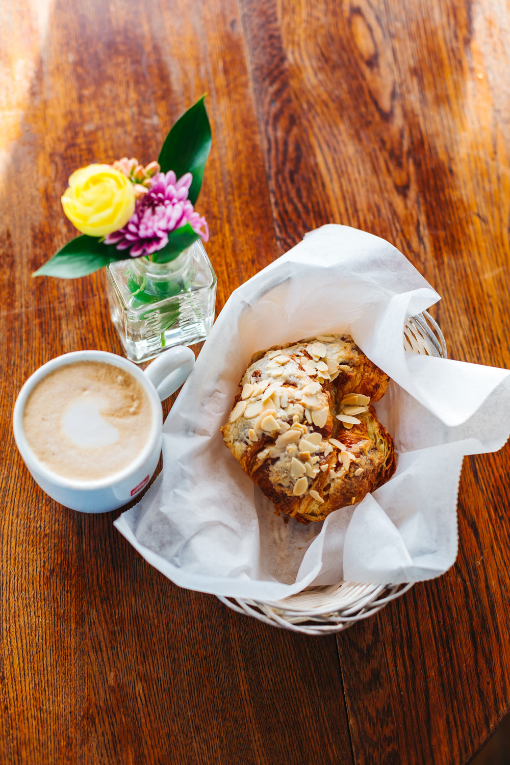 Delicious Almond Croissant and latte at Cafe Madeleine