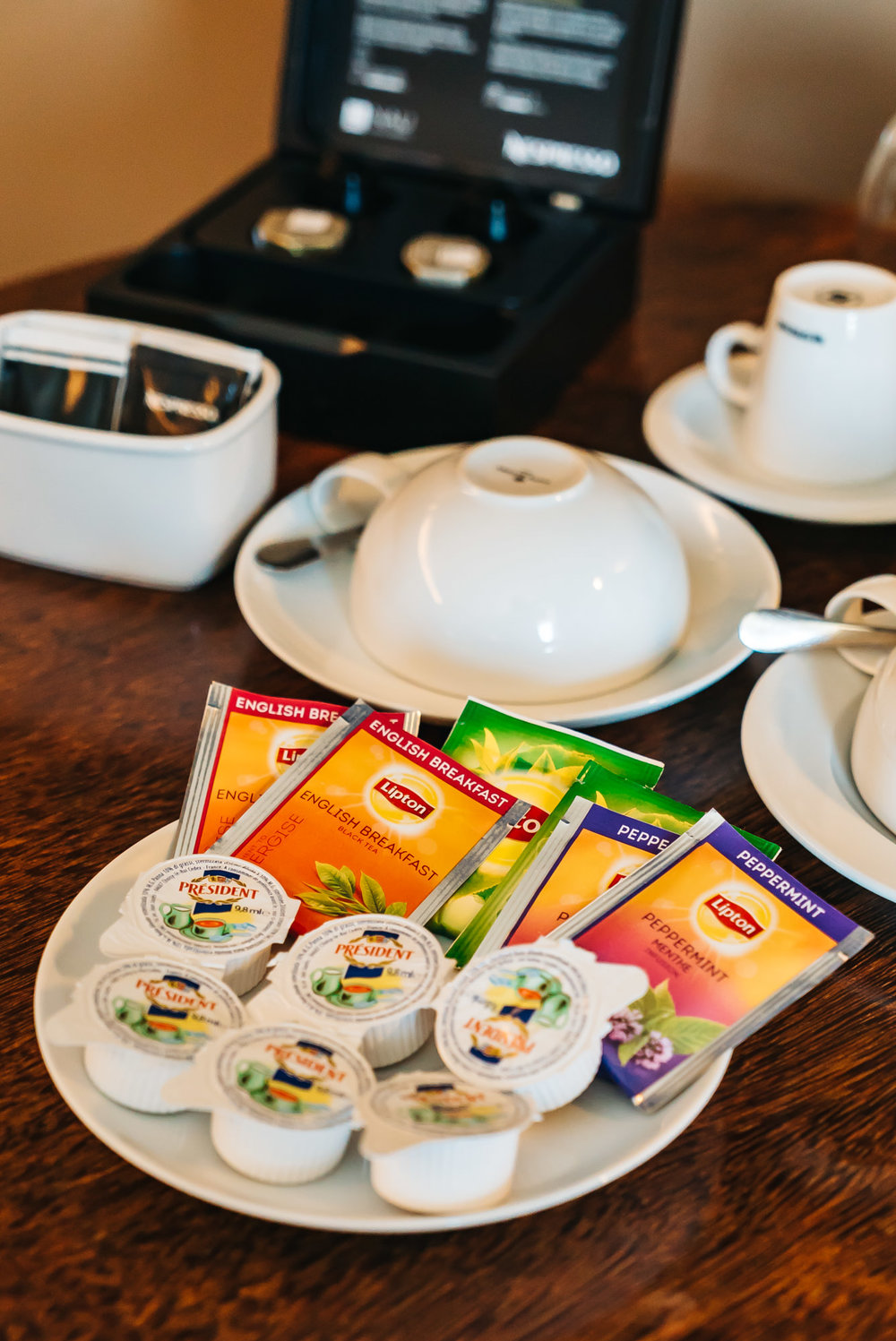 Variety of complimentary tea and coffee