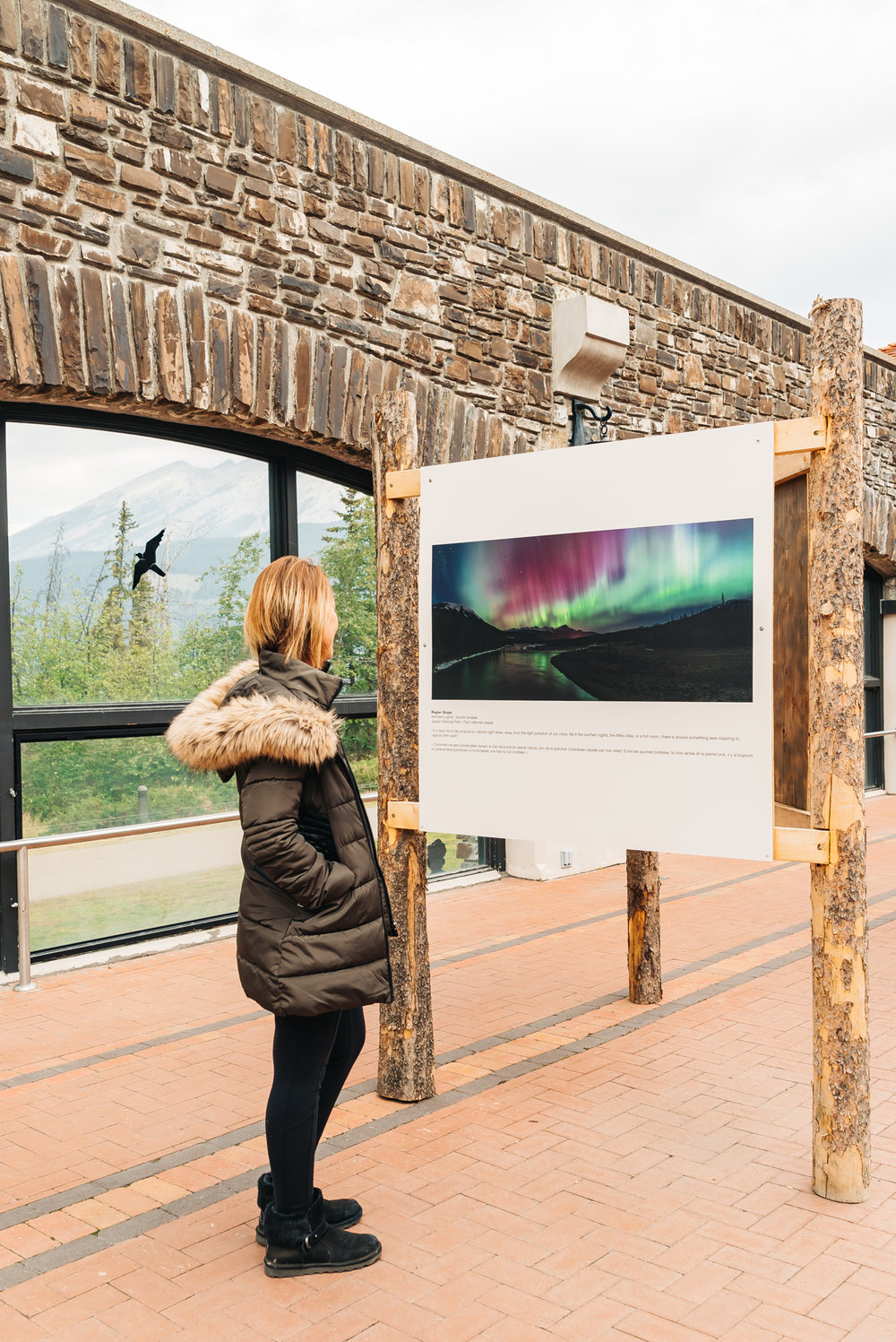 Crystal admiring the photography of Banff