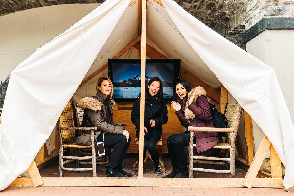 Makeshift tents at Cave and Basin