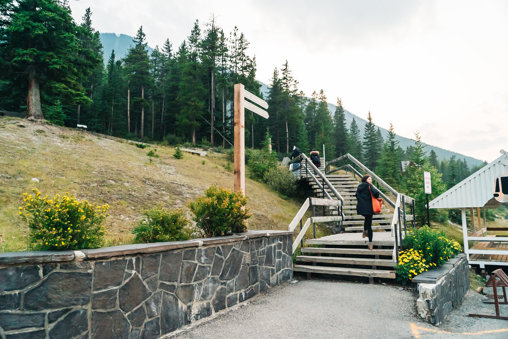 Stairs leading to additional parking lots