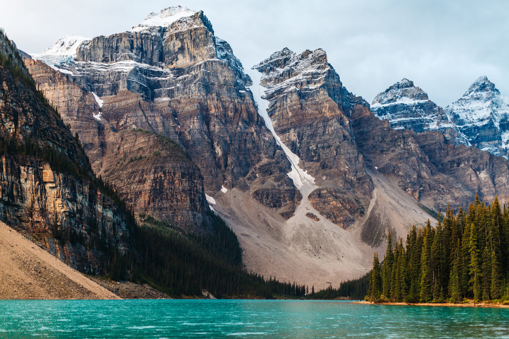 Moraine Lake situated in the  Valley of the Ten Peaks