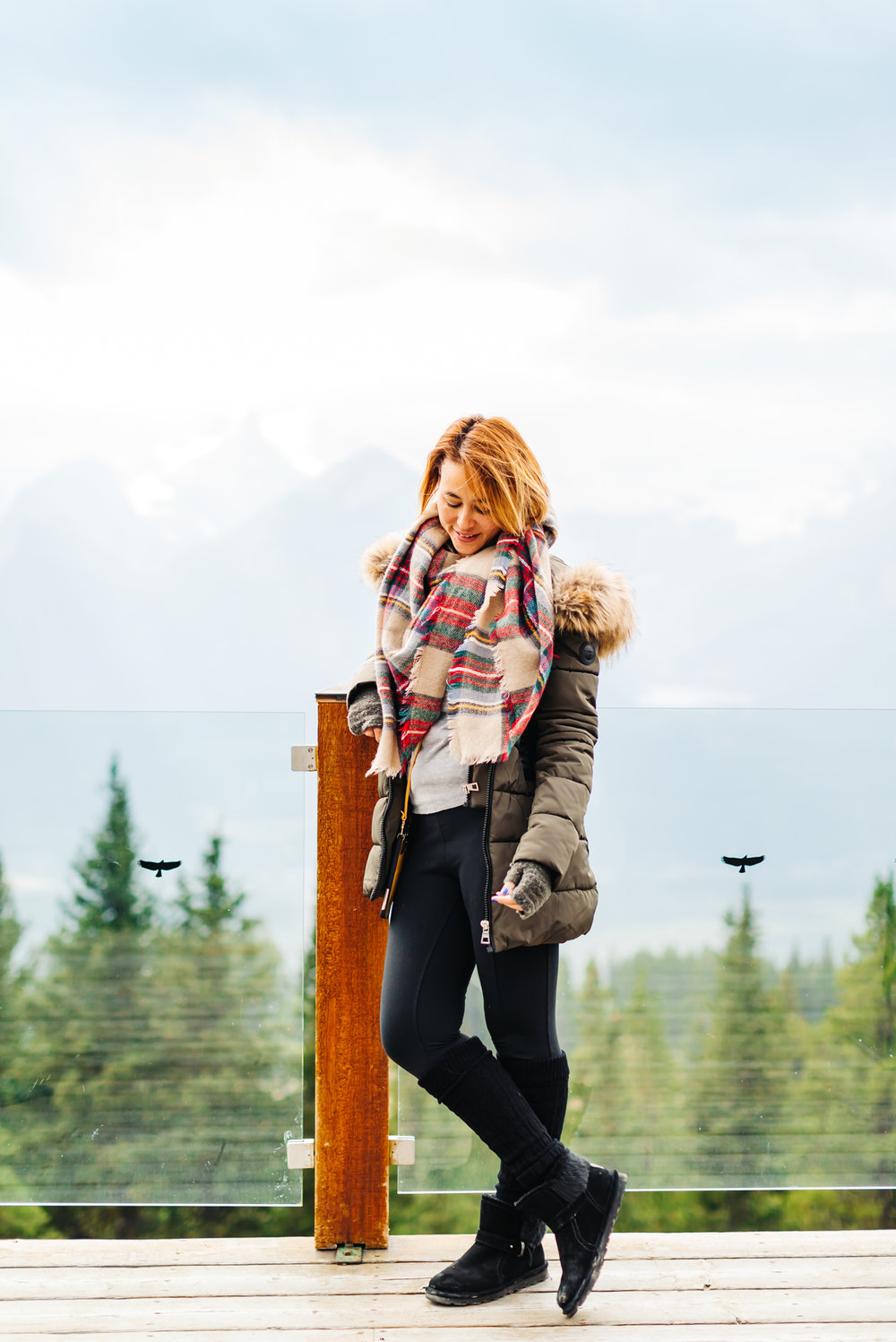 TARTAN   WRAP SCARF   // ATHLETA   LEGGINGS   // BEARPAW   KOKO BOOTS