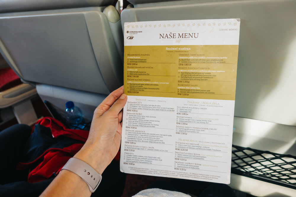 Our menu on the train