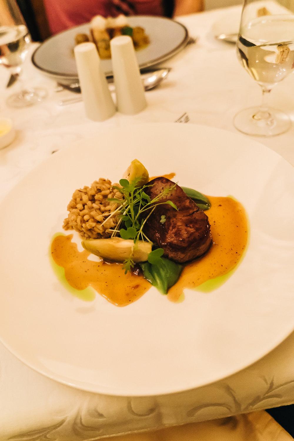 Delicious steak at Halaszbastya Restaurant