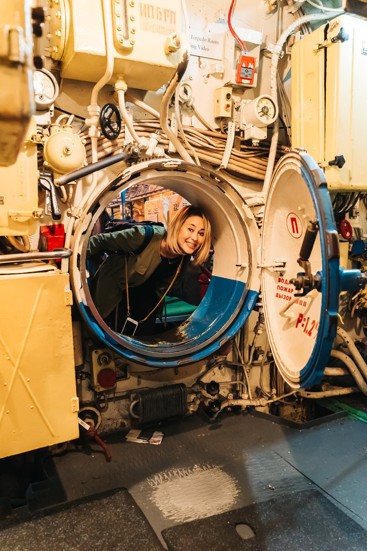 Having fun going through the tunnels of the B-39 Submarine