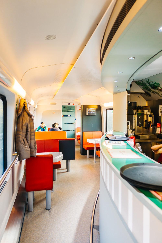 Restaurant inside the train