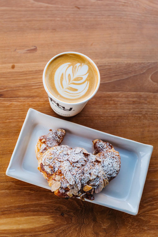 Almond Croissant & Latte