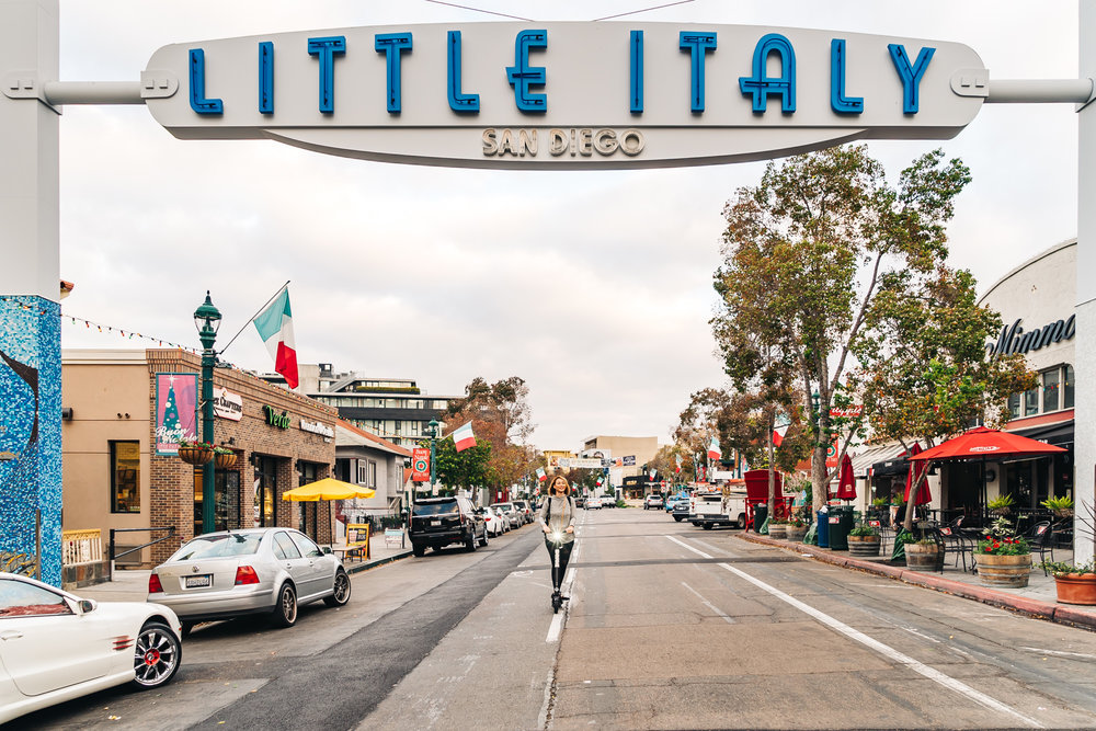 Crystal scooting around Little Italy