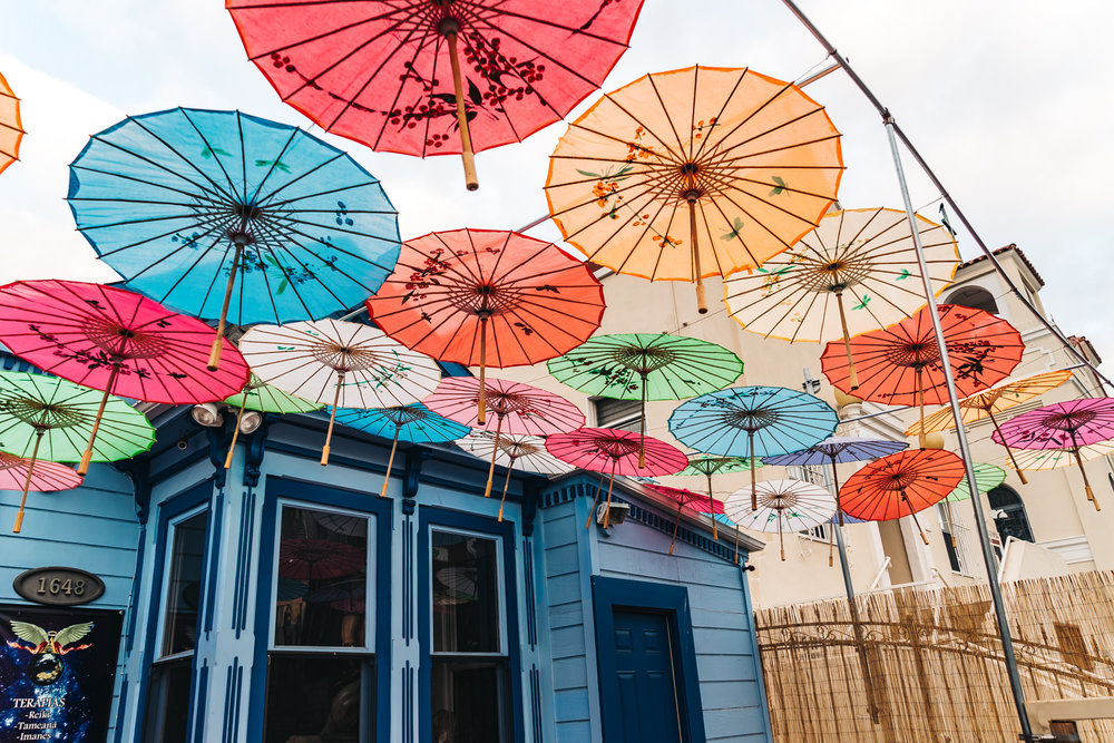 Colorful Umbrellas at a Small Boutique