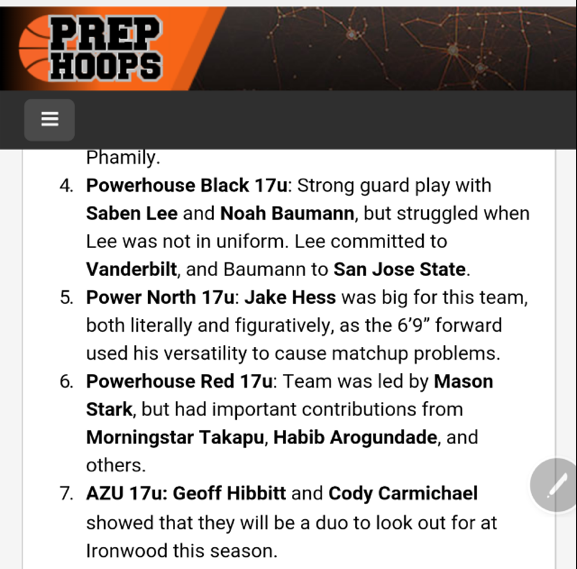 PrepHoops.com ranks AZU the #7 club team in Arizona for the 2016 club season in the 17U division. (8/6/2016)