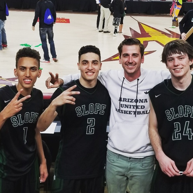 AZU's 17U standouts (left to right: Bryson Mewhinney, Allen Abayev, and Kyle Fischer) defend their state title at Wells Fargo Arena. Back to back AZ 5A state champs!(2/27/18)