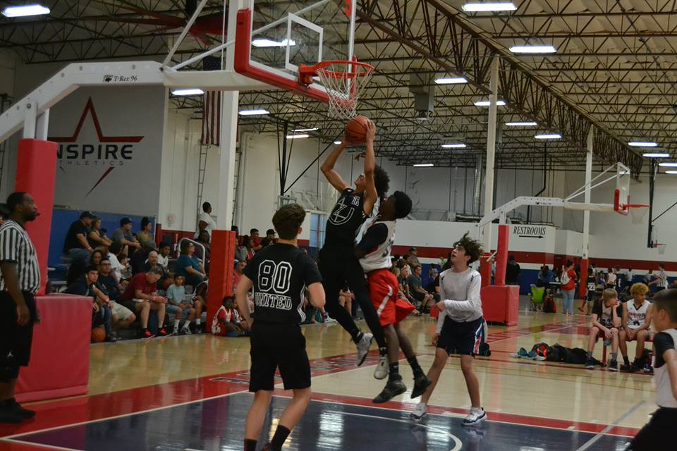 AZU 14U rising star Marcus Richards attacks the hoop. at the Inspire Courts. (3/2018)
