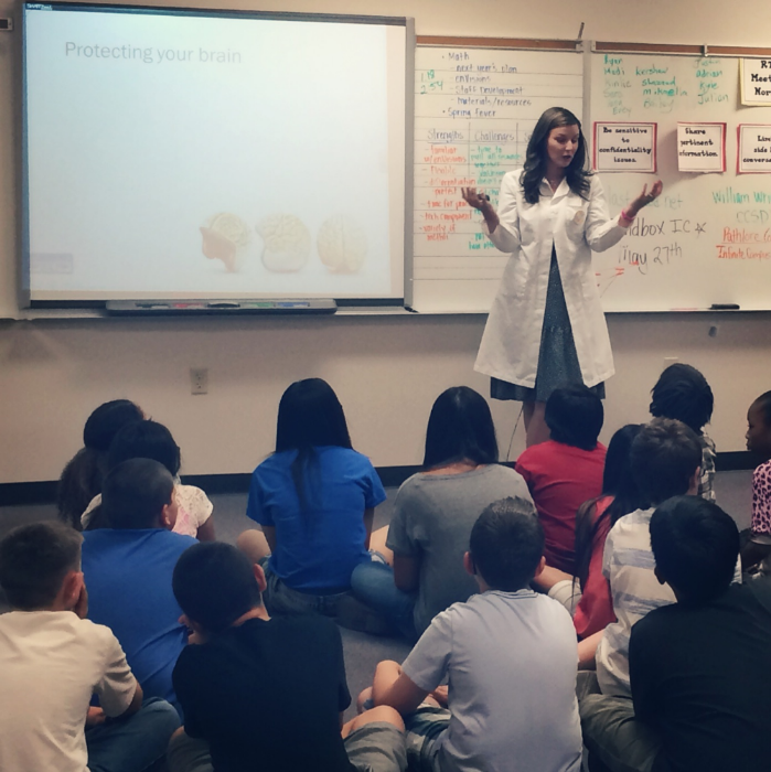 Monica leads a presentation on Brain Health at Wright Elementary