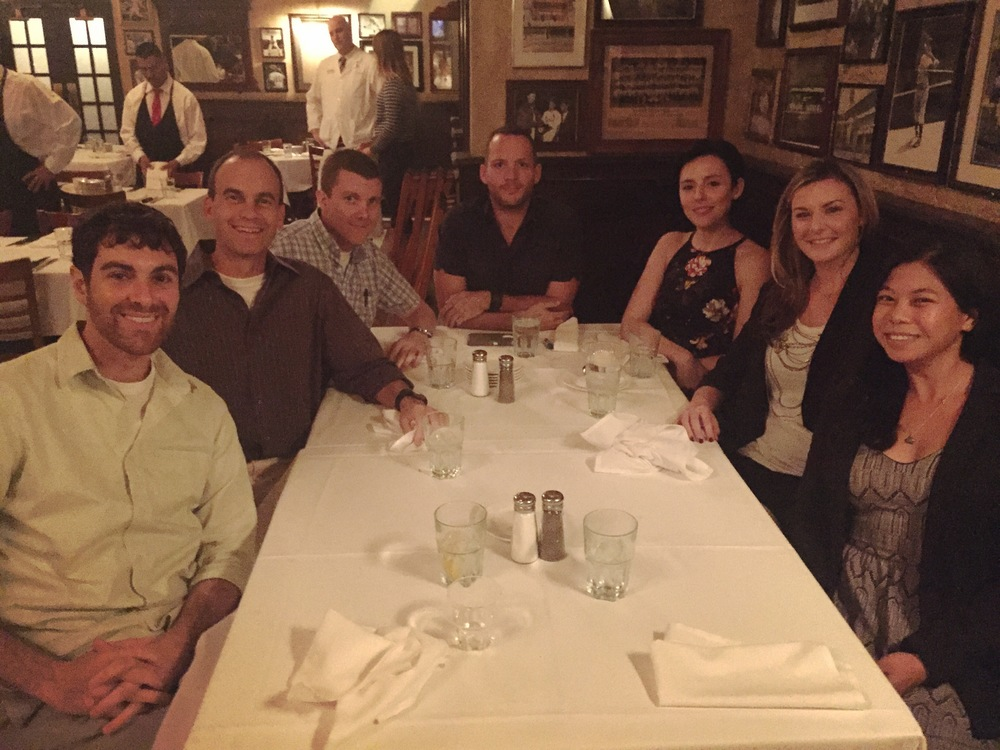 Kinney Lab dinner reunion (left to right): Dr. Sabbagh, Dr. Kinney, Michael Langhardt, Andrew Murtishaw, Kirsten Calvin, Monica Bolton, Christy Magcalas.