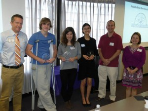 Las Vegas Brain Bee 2014 Winners & Judges (from left to right): Dr. Merrill Landers, Jacob, Valentina, Aliya, Dr. Jefferson Kinney, Dr. Laurel Pritchard.