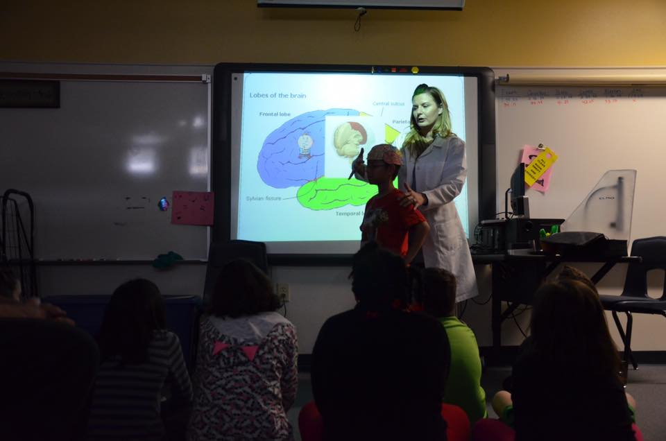 Monica Bolton leads a group discussion on the different cerebral lobes at Kitty Ward Elementary.