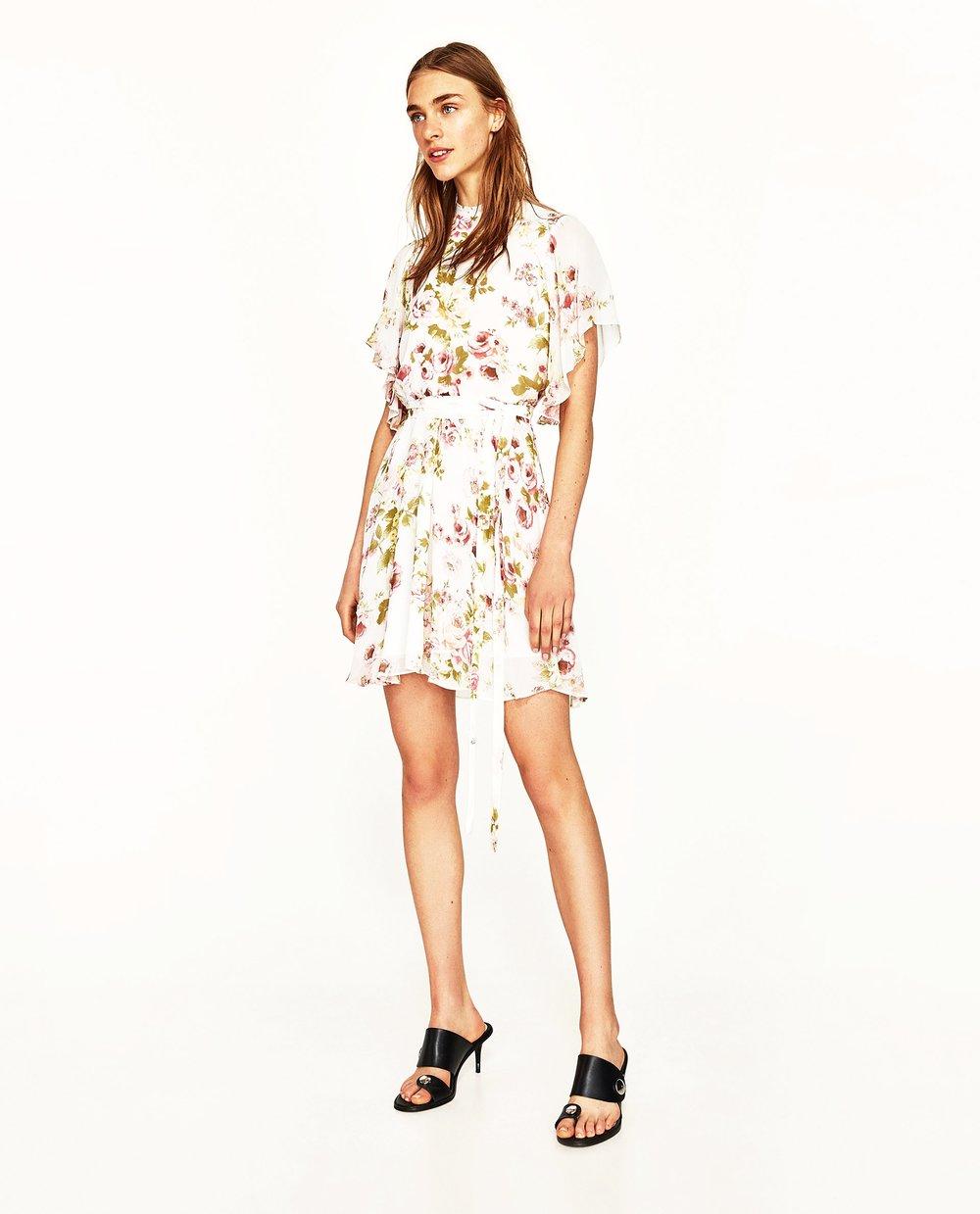 Zara Printed Mini Dress with Belt