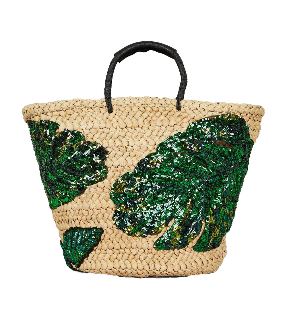 New Look Green Sequin Palm Leaf Basket Bag